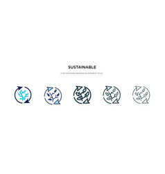 sustainable icon in different style two colored vector image