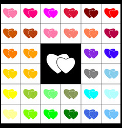Two hearts sign felt-pen 33 colorful vector