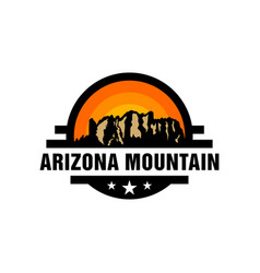 vintage logo arizona desert mountain map vector image