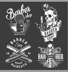 vintage monochrome barbershop labels vector image