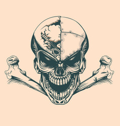 vintage skull with mechanisms in mind monochrome vector image