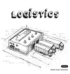 Warehouse and trucks vector