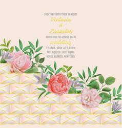 wedding invitation with geometric elements vector image