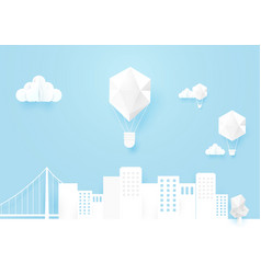 White mocup urban landscape and hot air balloons vector
