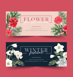 Winter bloom banner design with poinsettia vector