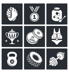 Wrestling icon collection vector