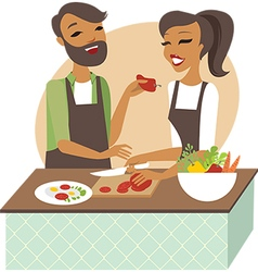 young couple preparing healthy lunch vector image