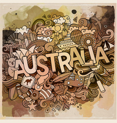 australia hand lettering and doodles elements vector image vector image