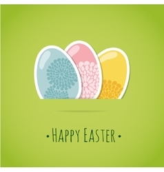 Cute easter card with painted easter eggs vector image