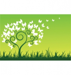 floral graphic design butterflies tree vector image