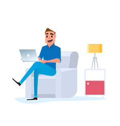 freelancer man working at home with laptop on sofa vector image