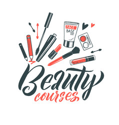 logo beauty courses lettering custom vector image vector image