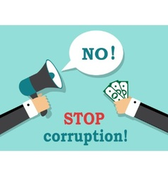 Say no to corruption and bribery vector