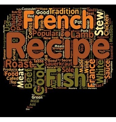 The 10 most popular french recipes text background vector image