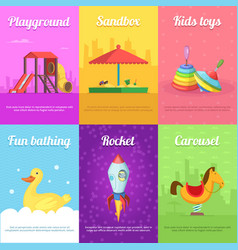 cards for kids with of funny toys vector image vector image