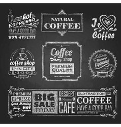 Chalk calligraphic drawing set of coffee sticker vector