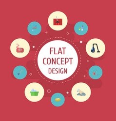 Flat icons towel sponge faucet and other vector