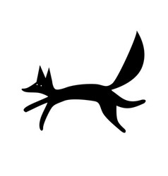 fox silhouette funny animal vector image vector image