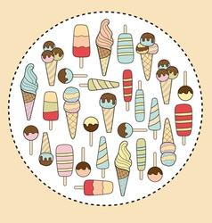 ice cream in circle vector image