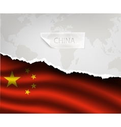 paper with hole and shadows CHINA flag vector image vector image