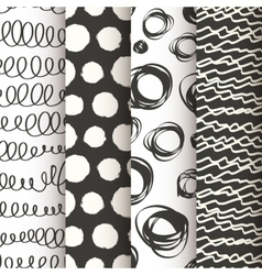 Set of 4 black and white doodle seamless patterns vector image vector image