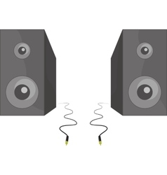 Two black speakers standing beside each vector image vector image