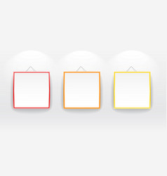 Blank boards with color frames on wall vector image vector image