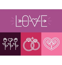 outline love signs and logos vector image vector image
