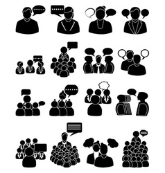 people talking icons set vector image