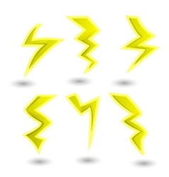 powerful lightning bolts set vector image vector image