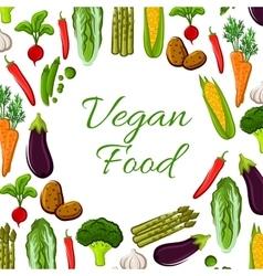 Vegan vegetables food poster vector image