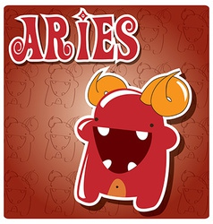 Zodiac sign Aries with cute colorful monster vector image