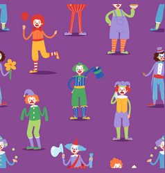 cartoon clown character funny circus man clownery vector image