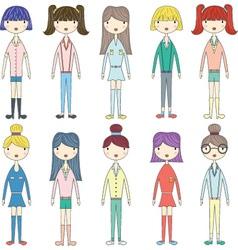 Cute GirlLovely GirlsFashion Style Girl set vector image vector image