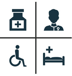 drug icons set collection of polyclinic vector image vector image