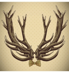 Hipster vintage background with deer antlers vector image vector image