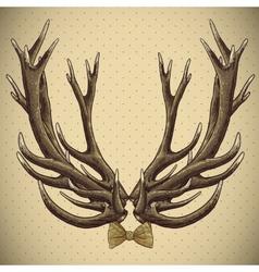 Hipster vintage background with deer antlers vector image vector image