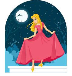 princess cinderella losing her shoe at the ball il vector image