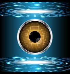 abstract technology digital circle with eye globe vector image