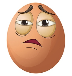 An egg with a tired face vector