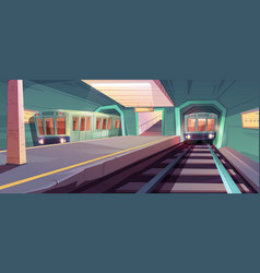 Arriving train to empty subway platform vector