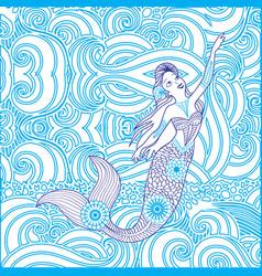 Artistic mandala mermaid design vector
