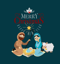 Baby jesus born in bethlehem scene in holy family vector