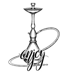 Black and white of hookah with hatching and enjoy vector