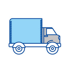 Blue contour of truck with wagon vector