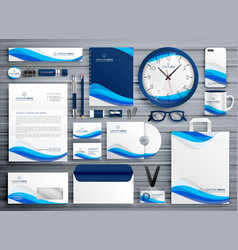 brans stationery design for your business in blue vector image