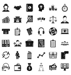 business leader icons set simple style vector image