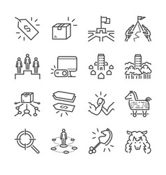 business strategy line icon set vector image