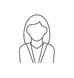 businesswoman avatar line icon on white background vector image