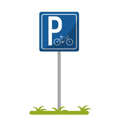 Bycicle road sign parking vector